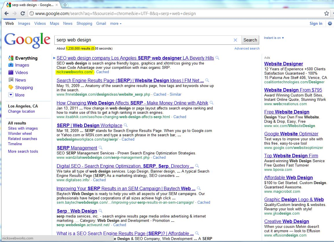 NicksWebWorks seo web design with the Clean Code Advantage gets top number 1 position in Google SERPs screen shot