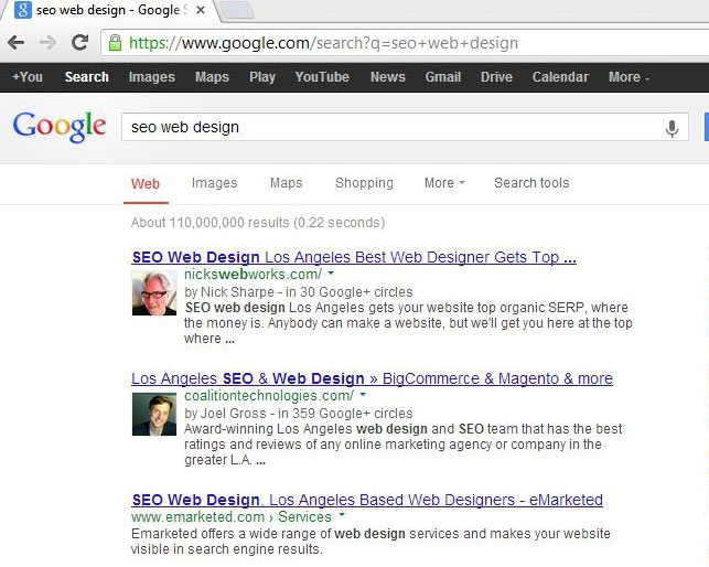 screen shot of number 1 organic SERP for nicks web works on Google