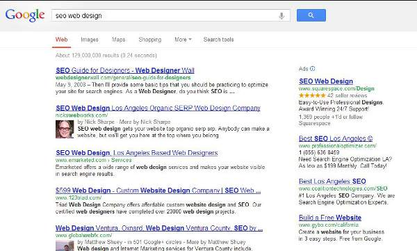 Nicks Web Works top organic SERP for SEO Web Design