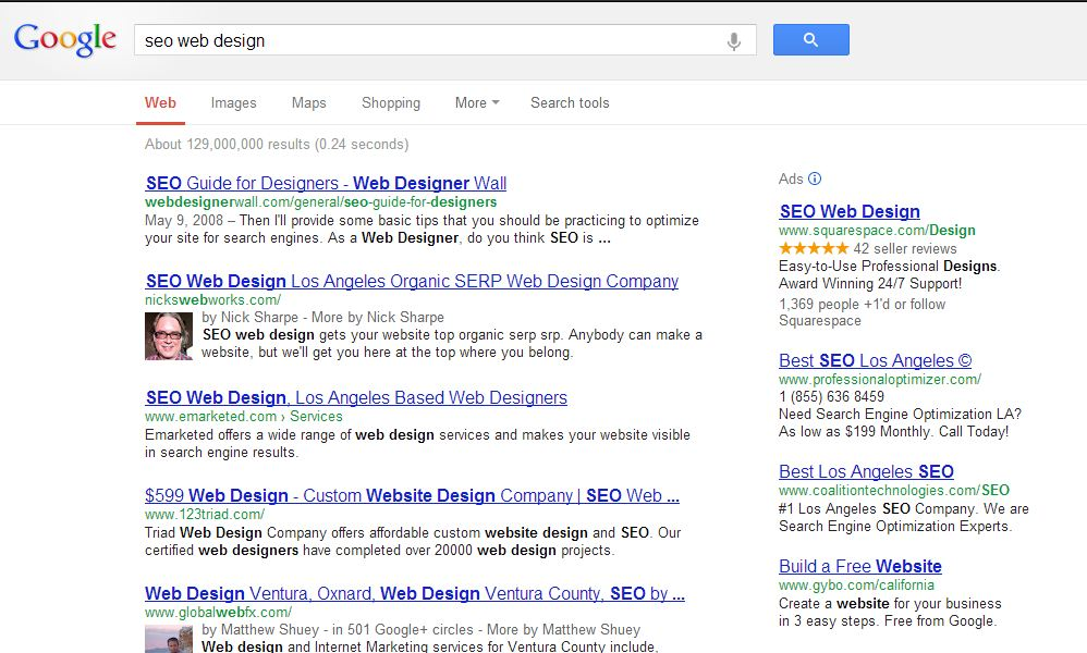 Screen shot of Google Search Results showing Nicks Webworks in number two position for query seo web design