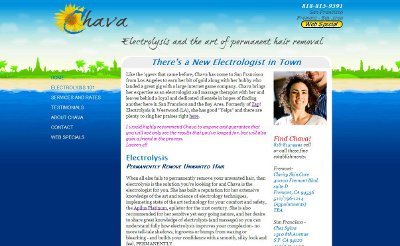 screen shot of electrolysis and massage website