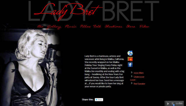 screen shot of Lady Bret custom word press web design