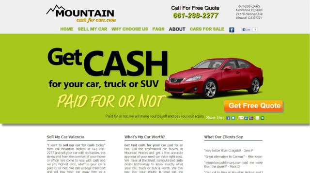 screen shot of client Mountain Cash For Cars home page Valencia Newhall Santa Clarita