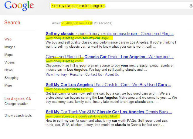 NicksWebDesignLA clients cover most the entire front page of local organic SERP including copycat Venicecashforcars.com