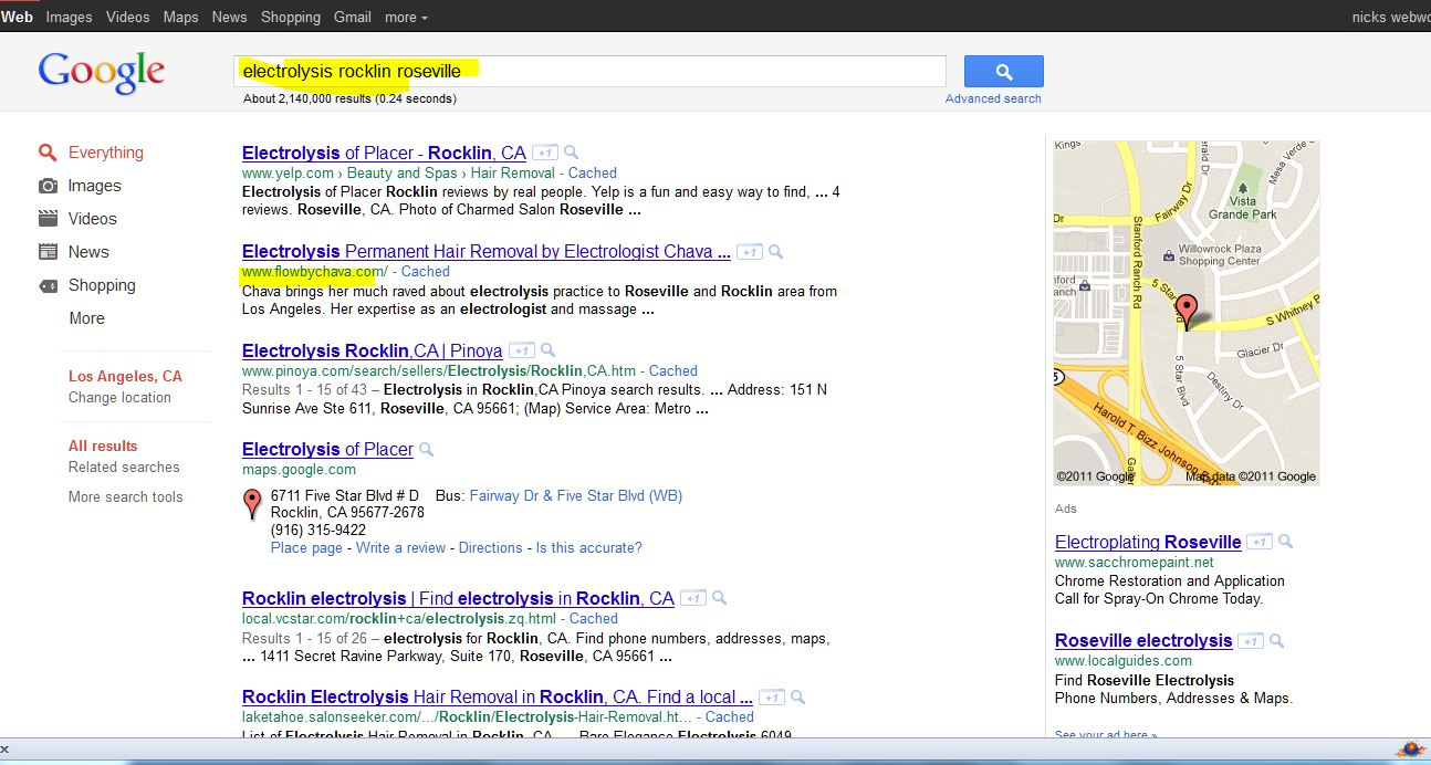 screen shot of seo web design client Flow by Chava Electrolysis and Massage for Health and Beauty SERP