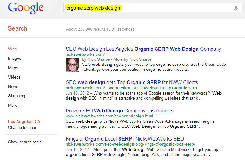 NicksWebDesignLA clients cover most the entire front page of local organic SERP