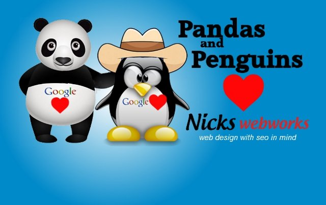 Cartoon Panda and Penguin with hearts love nicks web works seo web design