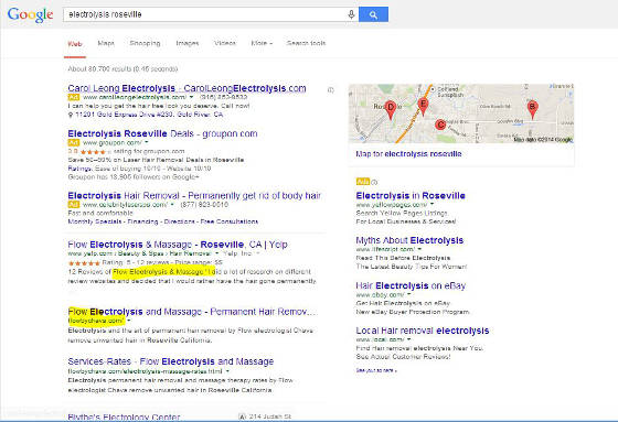 Flow electrolysis in Roseville srp screen shot showing top local organic SERP