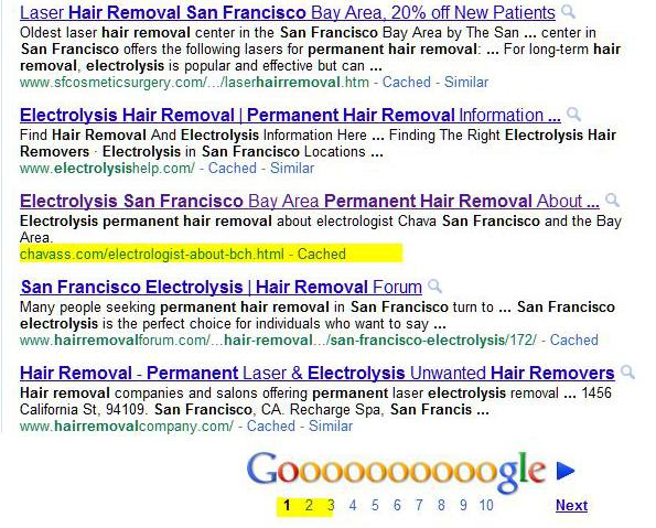 screen shot of organic SERP for Chava in SF Bay area