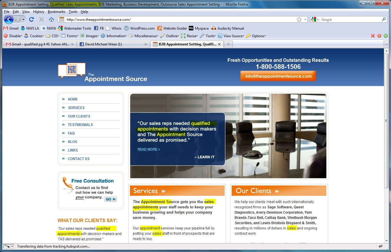 The appointment source home page w keywords highlighted 12-20-10 - seo by nickswebworks.com