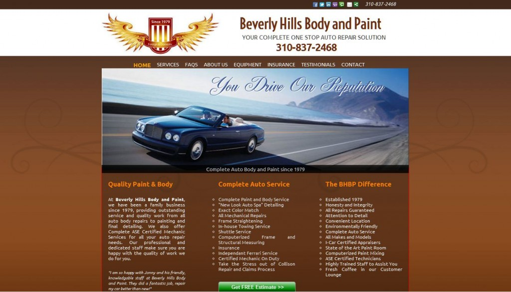 Beverly Hills Body and Paint Screen Shot shows SEO webdesign by nick sharpe