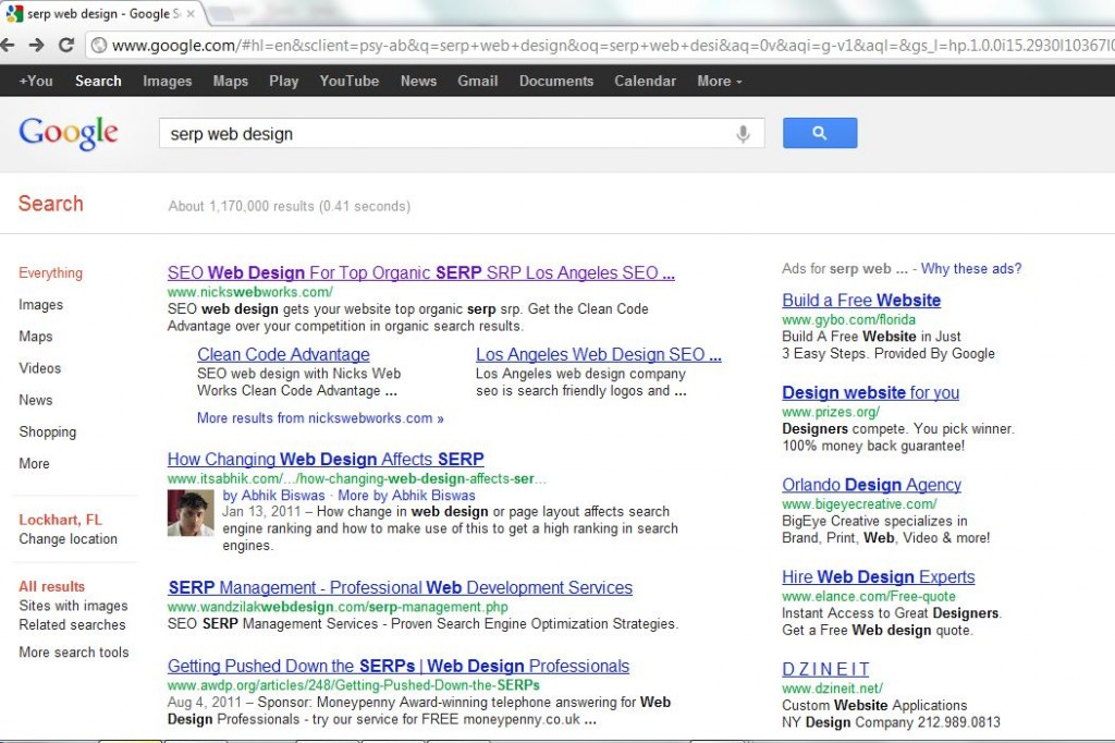 screen shot of Google Search Engine Results Placement (SERP) showing Nickswebworks at the number 1 spot