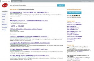 "Screen shot  of SERP from Ask.com for keyphrase  ""serp web design los angeles"" with nickswebworks.com at the top 6 places!"