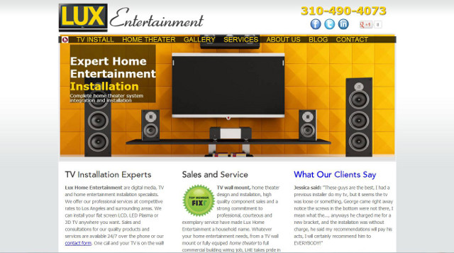 screen shot of new lux entertainment website