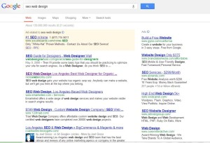 Screen shot of NicksWebWorks in number 2 spot for SEO web design in Google search engine results placement