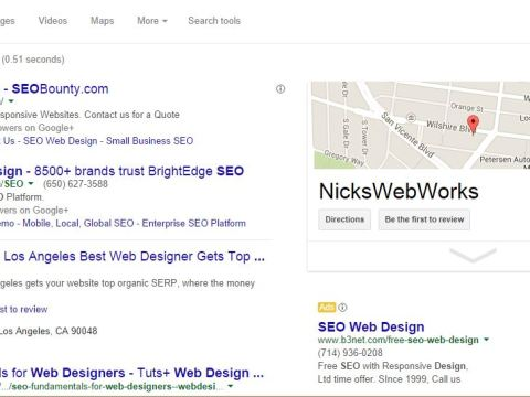 screen shot of Nickswebworks number 1 for seo web design with Google listing prominently displayed on right sidebar