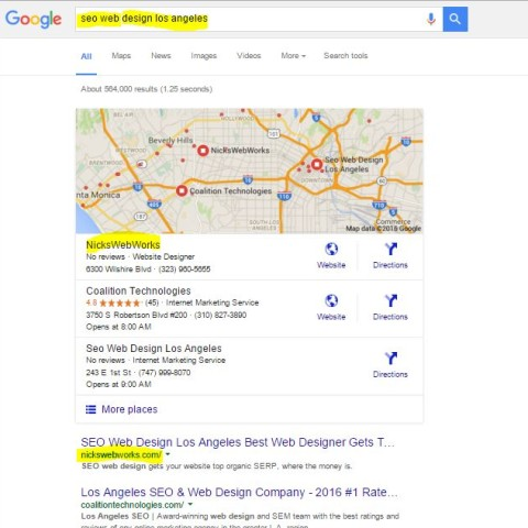 NicksWeb'works gets top local organic SERP in google search